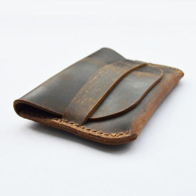Junetree handmade classic coin bag enuine leather vintage bank card holder