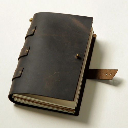 Junetree Vintage style gift Diaries Journals notebook genuine leather dark brown
