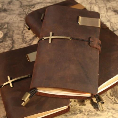 Junetree Handmade Vintage Traveler's Notebook Diary Journal Blank Leather Cover D0407