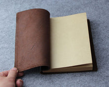 Junetree handmade thick Diaries Journals notebook genuine leather brown A5