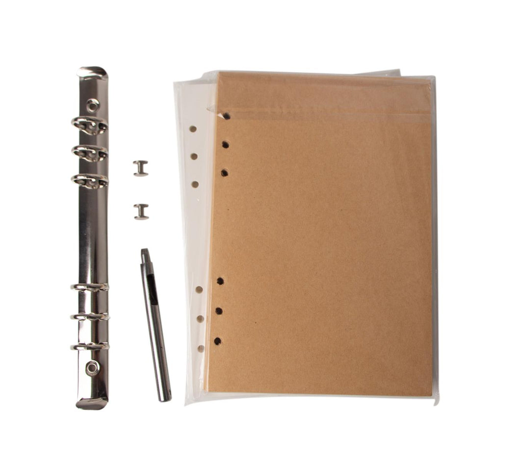 Passion Junetree steel Traveler's Notebook 6-Ring Binder include screw and refill papers