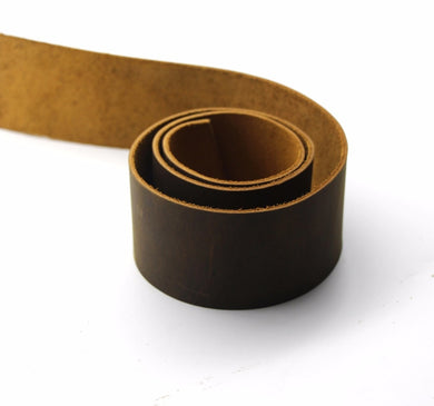 JuneTree Natural Cowhide thick genuine leather tanned leather belt brown width 50mm length 80 to 90cm thickness 1.8 - 2.0mm