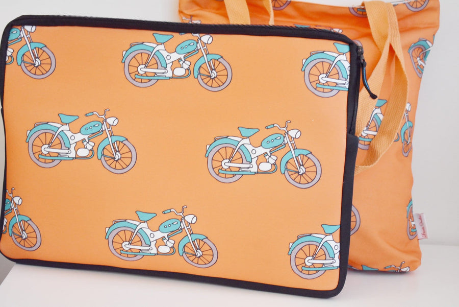 Combo - Husa Laptop & Geanta Tote din Canvas - Happy Orange