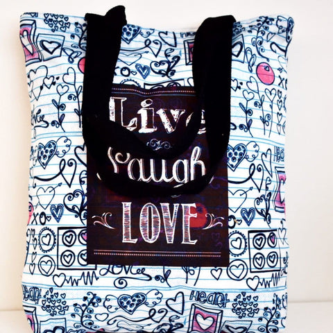 Geanta Tote din Canvas -Mesaj Inspirational - Live laugh love