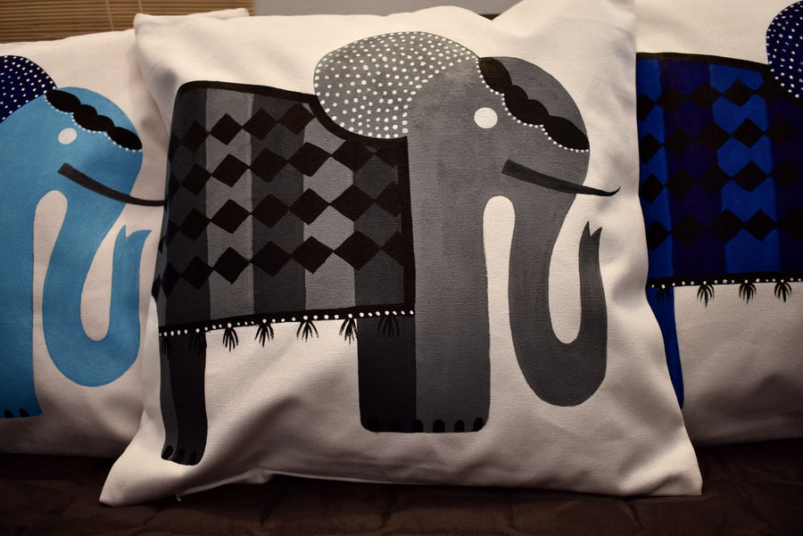 Hand PaintedCushion Cover- Elephant Festival Set of 3