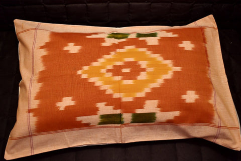Set - 2 Huse Perna din Bumbac Handloom - Ikat Style - Orange
