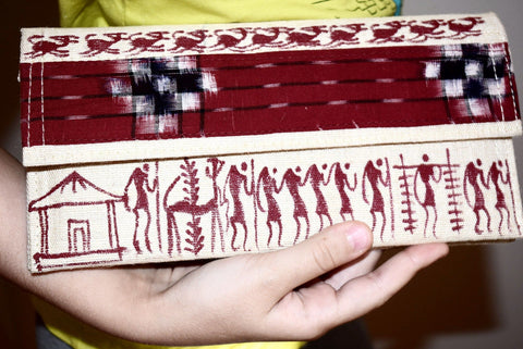 Warli Art Jute & Cloth Clutch
