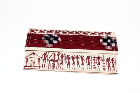 Warli Art Jute & Cloth Clutch - Red