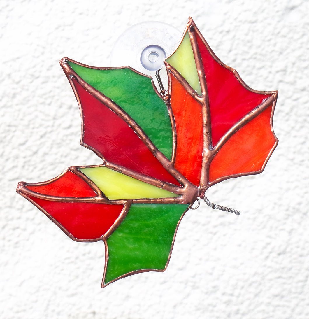 Autumn Sycamore Leaf Stained Glass Suncatcher 2784