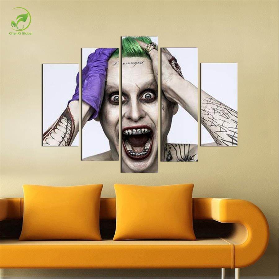 No Frame 5 Panels The Joker Canvas Oil Painting Wall Art Paint Children S Room Decor Suicide Squad Poster Prints Canvas Picture