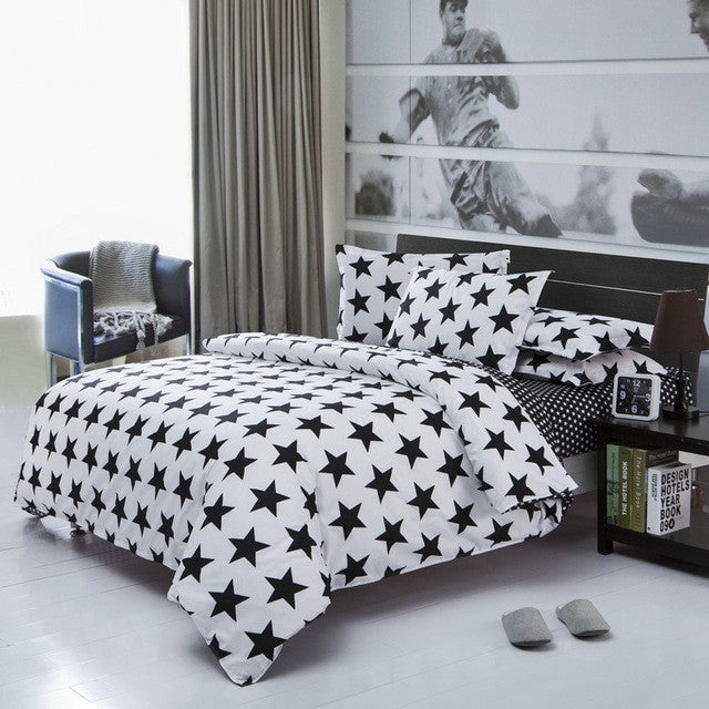 131fee838c9 Classical black and white cotton Bedding set home textile bed linen Duvet  cover Bedclothes