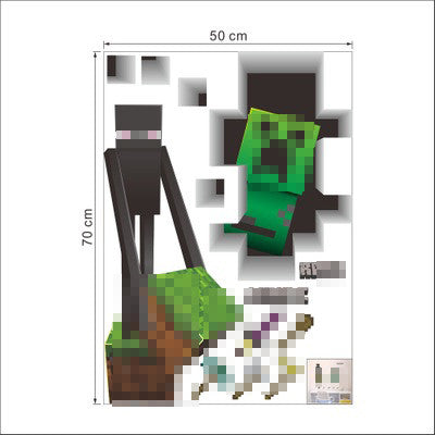 Newest Minecraft Wall Stickers 3D Wallpapers Kids Room Decals Minecraft  Steve Home Decoration Popular Games Home Free Shipping Part 40