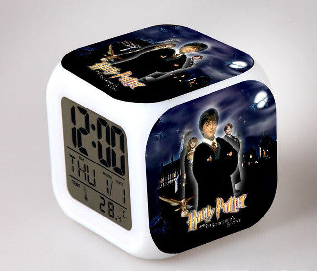the moive harry potter bedroom clock led 7 color flash digital alarm clocks kids bedroom wake up clock free drop shipping - Bedroom Clock