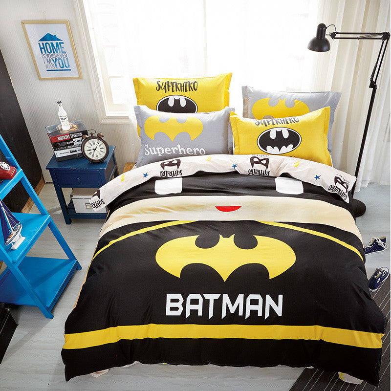 e1abdf08fde7 Sookie Cute 4pcs 100% Cotton King Size Bedding Set Cartoon Style Duvet  Cover Sets Batman Printed Pillowcase Bed Sheet Bed Linens
