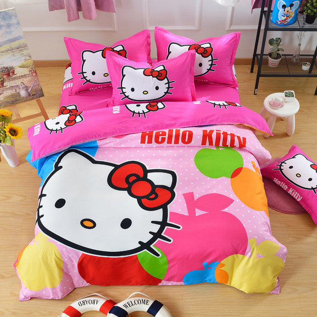 5bf9d0947 Home Textiles,Brand Logo Hello Kitty Bedding Set,Children Cartoon Pattern,Include  Duvet Cover Bed Sheet Pillowcase Free Shipping