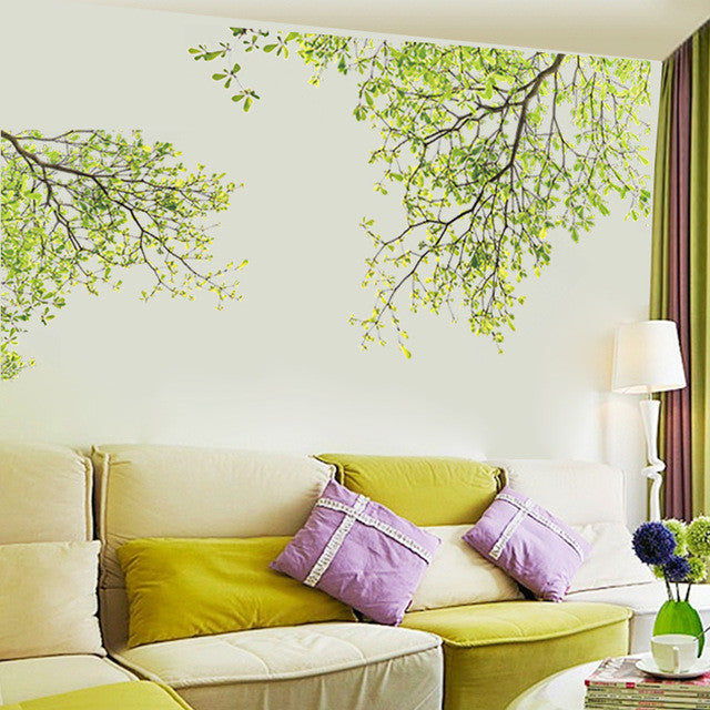 Green Leaves Tree Branch Wall Stickers For Kids Room Living Bedroom Home Decor 3d Vinyl Decal Removeable Wallpaper