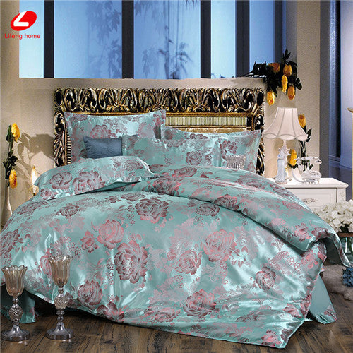 Lifeng Home Jacquard Bedding Set 2017 New Bed Set Super King Bed Linen Set Luxury Flat Sheet 4pcs Set Duvet Cover Bedclothes Bed