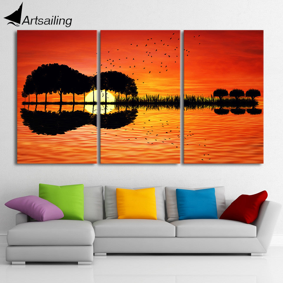 3 piece canvas wall art hd printed guitar tree lake sunset for Decoration peinture