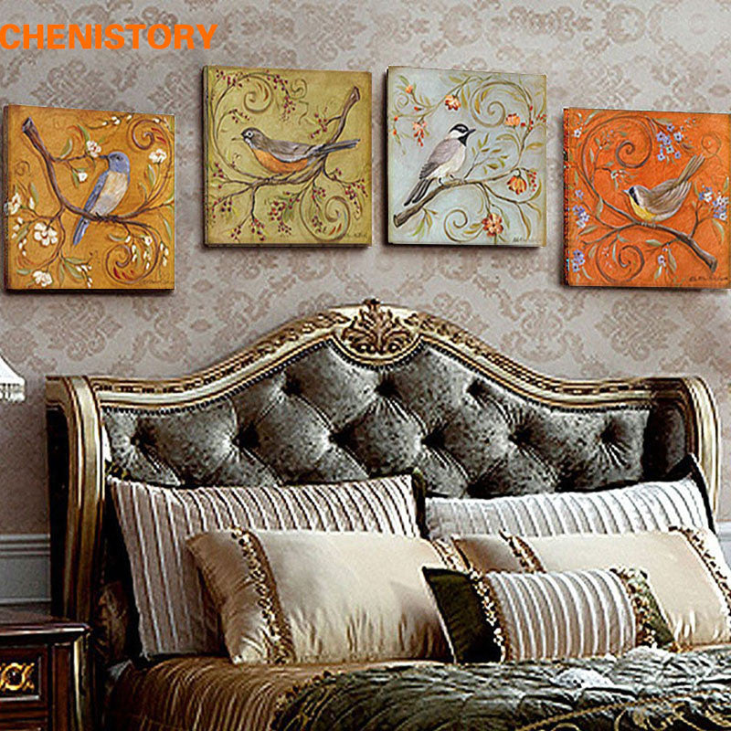 Unframed 4 Panel Vintage Birds Retoing Europe Home Decor Wall Art