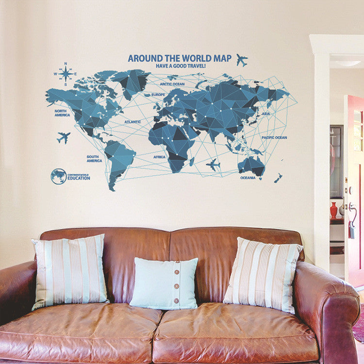 6590659ae Creative world Map Wall Stickers Science Technology Origami Map Wall Decal  Home Decor Art Living Room Bedroom Backdrop Wallpaper