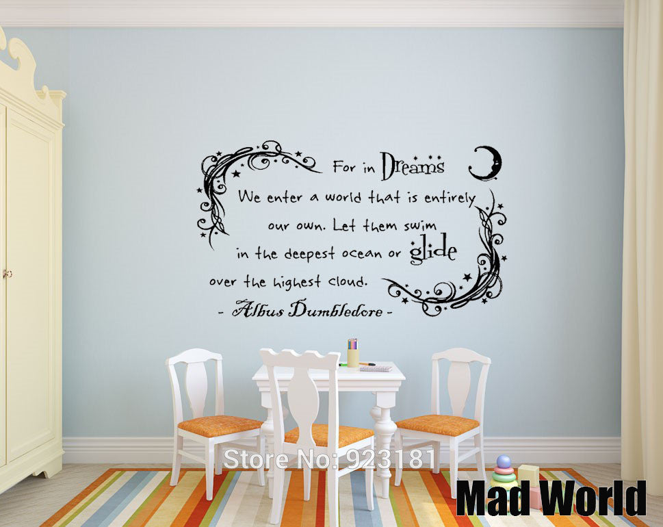 Mad World Dumbledore In Dreams Harry Potter Wall Art Stickers Wall Decal Home Diy Decoration Removable Room Decor Wall Stickers