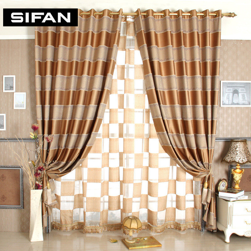 European Stripe Jacquard Blackout Curtains For The Bedroom Window
