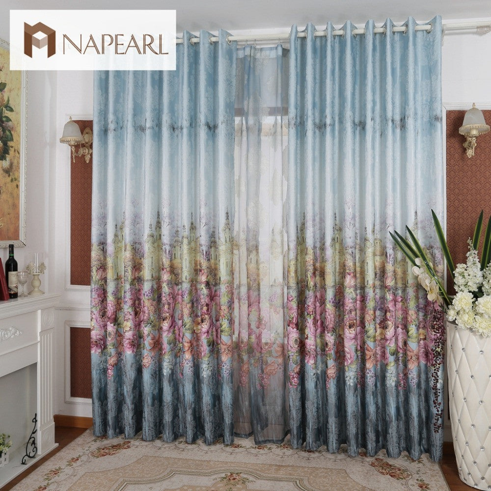 Free shipping European style ready made curtains for living room ...