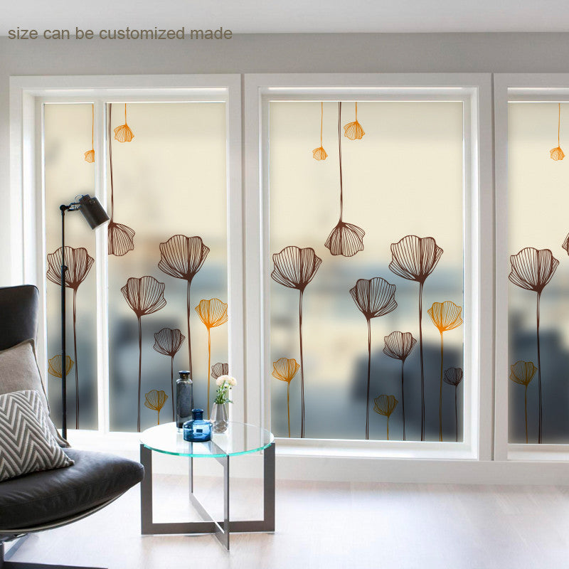 Free Custom Made Size Decorative Frosted Stained Window Film Privacy
