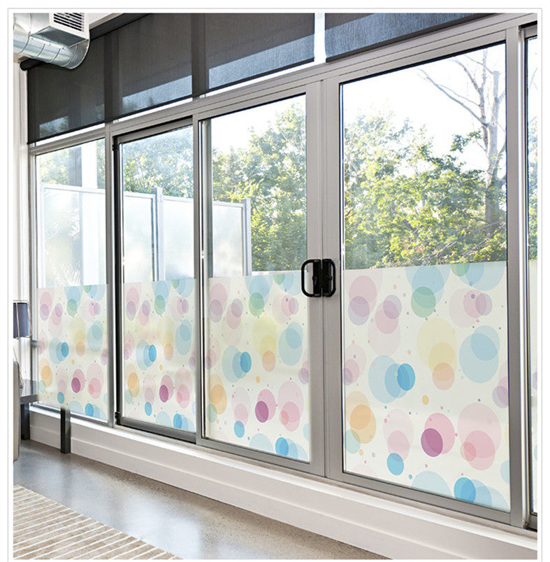 50x100cm PVC Colored circles pattern window stickers translucent bathroom Childrenu0027s room Living film glass paste & 50x100cm PVC Colored circles pattern window stickers translucent ...