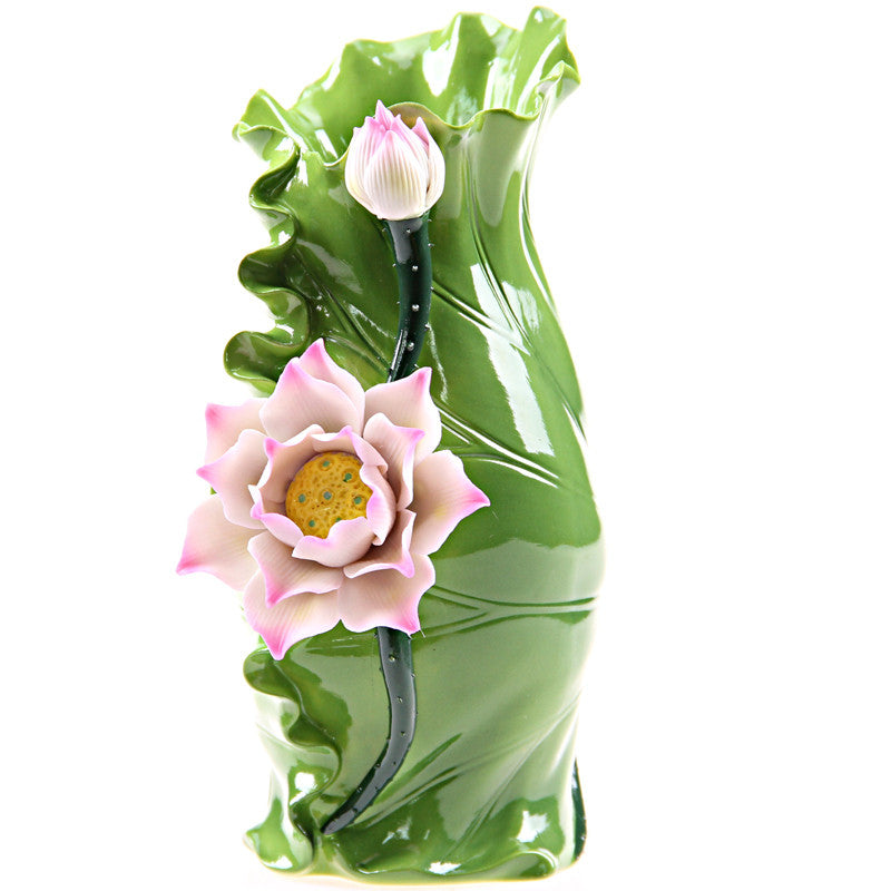 Traditional Chinese Lotus Flower And Leaf Vase Decorative Ceramics