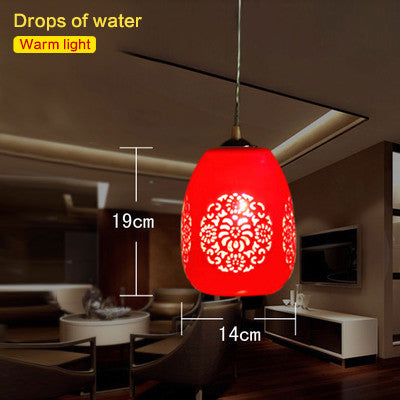 Led E27 Chinese Style Red Pendant Light Suspension Drop Lamp Ceramic