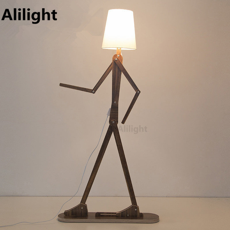 Moder Creative Wooden People Floor Lamp Linen Lampshades Classical Standing  Light For Dining Living Room Bedroom Home Stand Lamp
