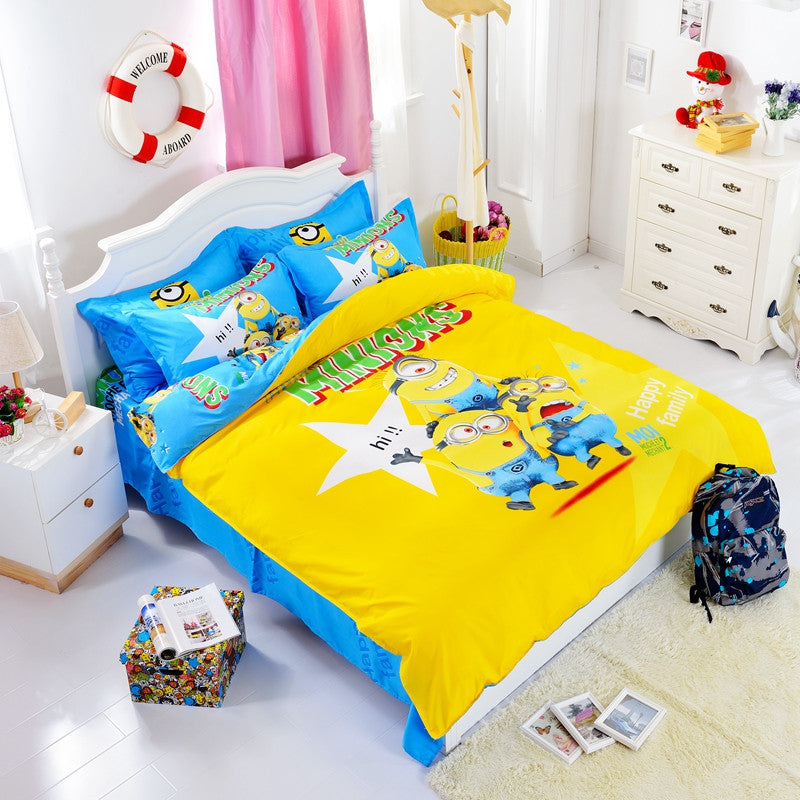690e10d7f725 Home Textile 3d Cartoon Minions Bedding Set Hello Kitty Bed Set for  Children kid 4pcs Duvet Cover Set with Bed Sheet Pillowcase