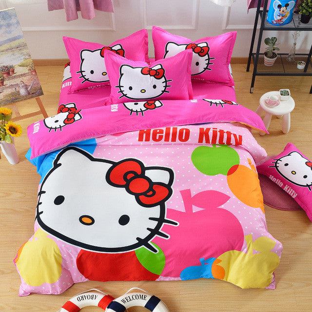 6a8e289abae1 Home Textile 3d Cartoon Minions Bedding Set Hello Kitty Bed Set for  Children kid 4pcs Duvet Cover Set with Bed Sheet Pillowcase