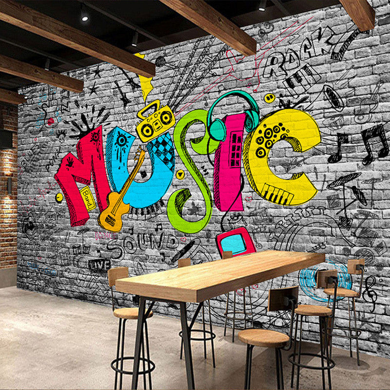 Custom Mural Wall Paper Creative Graffiti Art Music Brick Wall