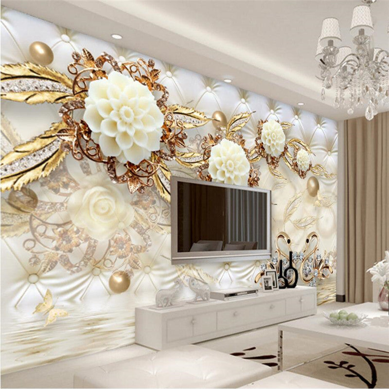 Beibehang swan jewelry reflection custom floor 3d wall paper mural 3d wallpaper for walls 3 d wall painting wall stickers home