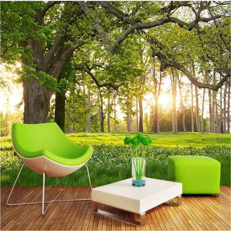 Customize Size Mural Wallpaper Background Trees Sunny Meadow Nature