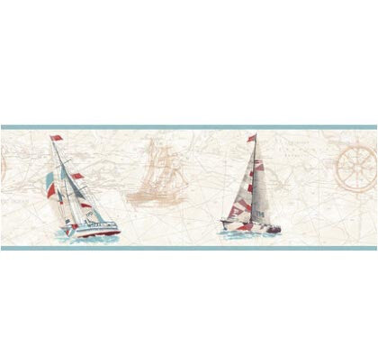 Mediterranean Sailboat Wallpaper Blue Wall Paper Roll For Kids Boy Bedding Room papel de parede Wall papers Home Decor
