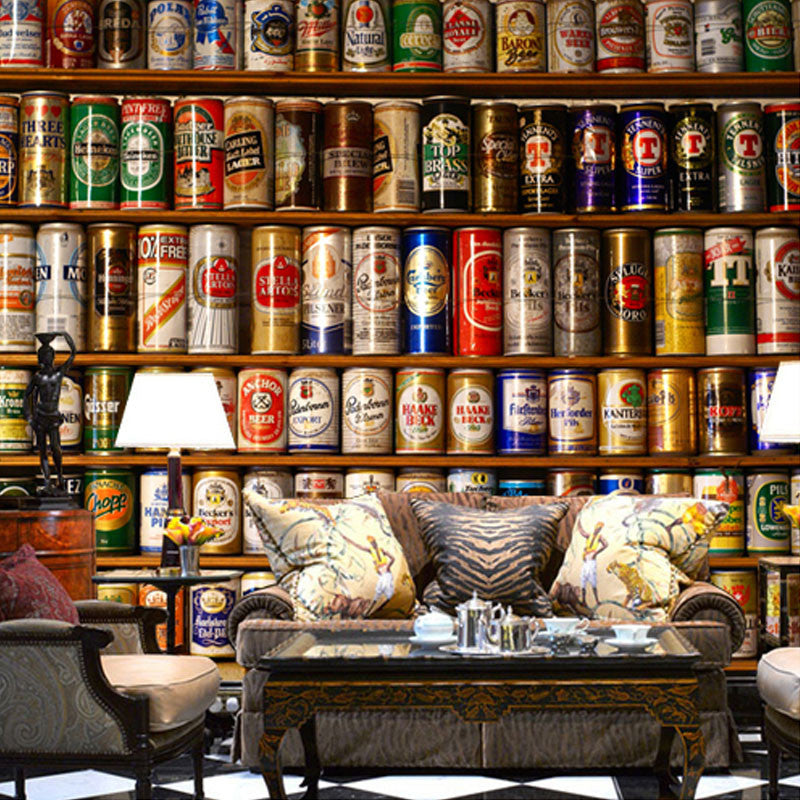 Customized Size 3D Stereo Bottles Cans Display Stands Photo Wall Paper Roll  for Cafe Bar Background Wall Home Decor Wallpaper