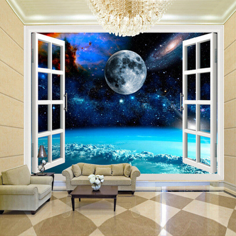 Custom Mural Photo Wallpaper 3d Window Space Planet Earth Wall Painting Bedroom Living Room Wall Papers Home Decor Wallpaper