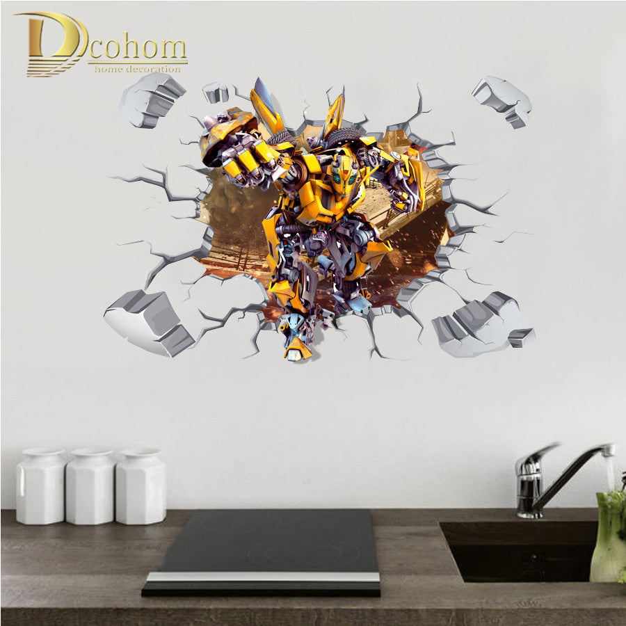 Movie Transformers Bumblebee Cartoon Wall Stickers For Kids Rooms Home Decor 3D Heroes Theme Poster Wallpaper Sticker Mural