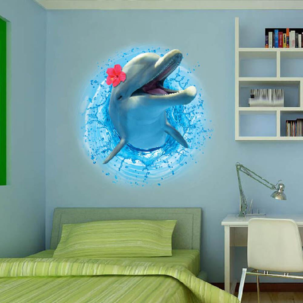 3d dinosaur dolphin wall sticker mural decal art wall stickers for 3d dinosaur dolphin wall sticker mural decal art wall stickers for kids room home decor nak wall stickers for children rooms amipublicfo Image collections