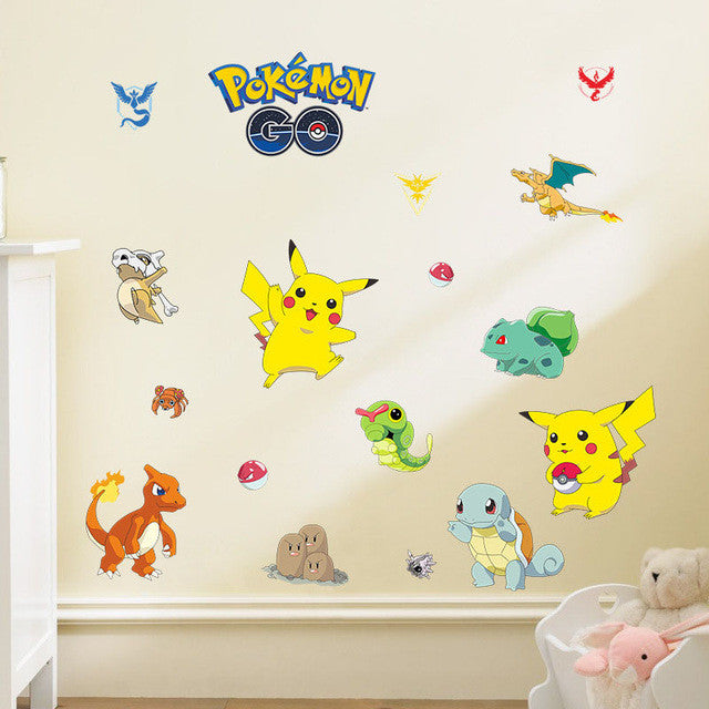 Hot Pokemon Go wall stickers For kids bedroom Home Decorations Cartoon  Pokemon Pikachu wall decals kids best gifts poster