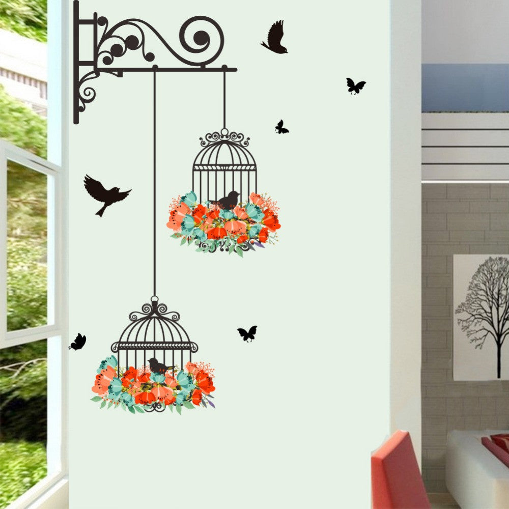 Creative Bird Cage Flower Butterfly Wall Stickers Home Decor Kids Room  Bedroom Living Room Wall Decal Wallpaper Posters Mural