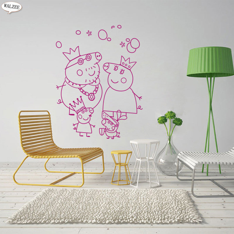 Vinyl Home Decor Arts Poster Pink Pig Cute Wall Decals Peppa Pig Wall Stickers George Cartoon Children Baby Kid Animal Wallpaper