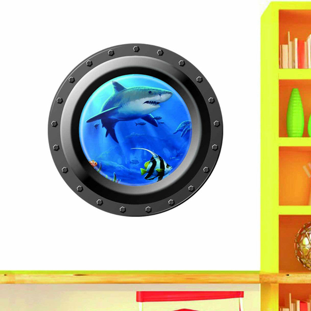 3d ocean view window submarine wall sticker /home decals porthole