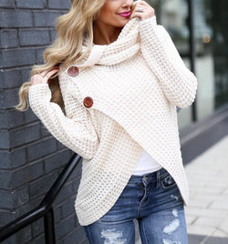 Side Button Cowl Neck Sweater