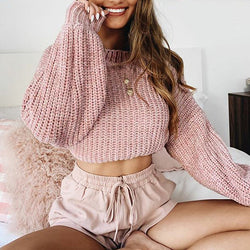 Adorable Puffy Cropped Sweater