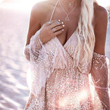 Elegant Sequin Off Shoulder Playsuit