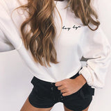 "Cute ""Boy Bye"" Crop Top Sweater Ribbon Sleeves"